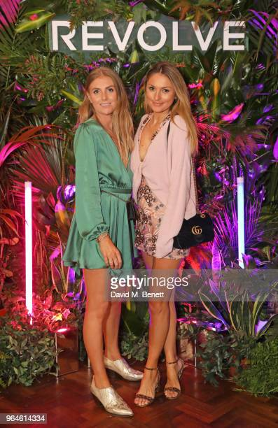 Sinead Crowe and Lauren Crowe attend the REVOLVE 'LA Party In London' hosted by Winnie Harlow at Hotel Cafe Royal on May 31 2018 in London England