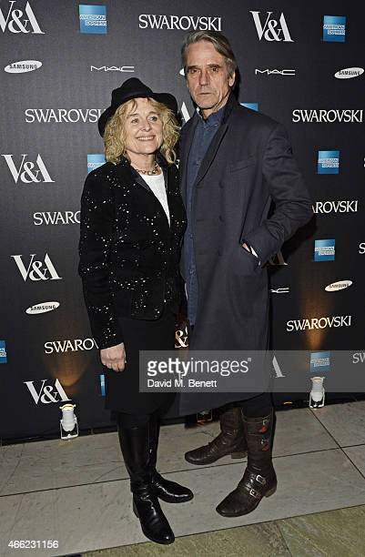Sinead Cusack and Jeremy Irons arrive at the Alexander McQueen Savage Beauty VIP private view at the Victoria and Albert Museum on March 14 2015 in...