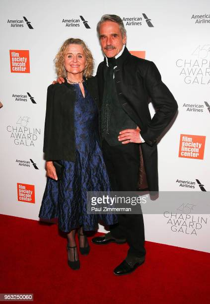Sinead Cusack and Jeremy Irons attend the 45th Chaplin Award Gala Honoring Helen Mirren on April 30 2018 in New York City