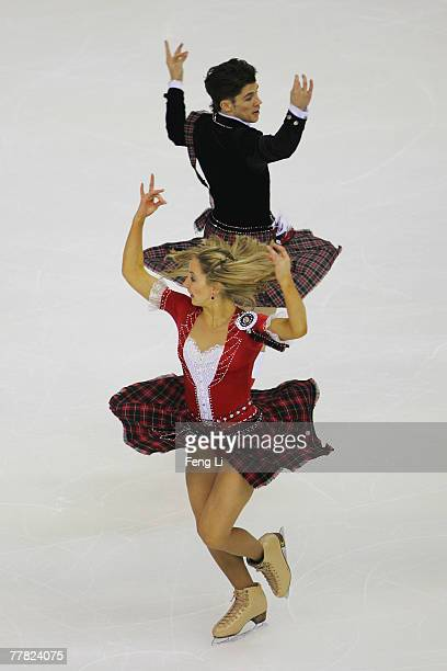 Sinead Kerr and John Kerr of Britain skate in the Ice Dancing Original Dance during the Cup of China Figure Skating competition which is part of the...