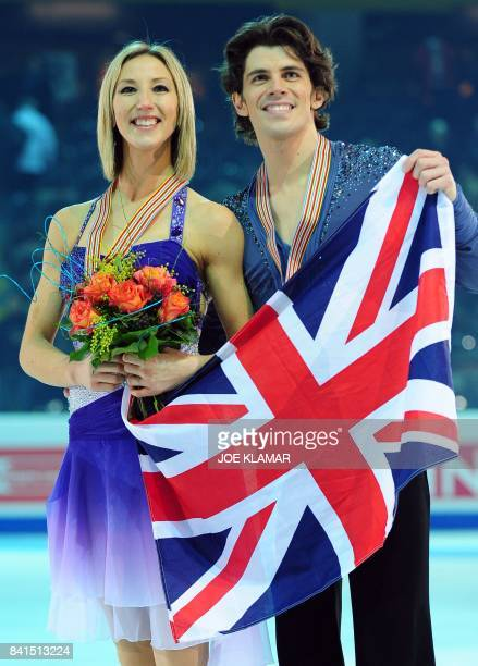 Sinead Kerr and John Kerr of Great Britain celebrate their bronze medal after they performed their European figure skating ice dance title at the...