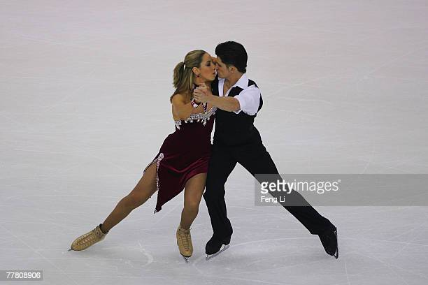 Sinead Kerr and John Kerr of the UK skate in the Ice Dancing Compulsory Dance during the Cup of China Figure Skating competition which is part of the...
