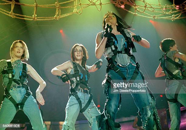 Sinead O'Carroll Lindsay Armaou Edele Lynch and Keavy Lynch of B*Witched performing on stage circa 1999
