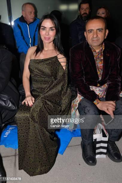 Sinem Yildirim and Ismail Acar attend the Ezra Tuba show during MercedesBenz Fashion Week Istanbul March 2019 at Zorlu Center on March 21 2019 in...