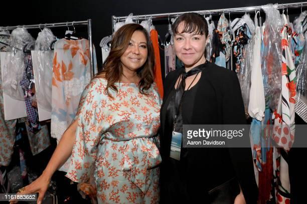 Sinesia Karol and Carol Hungria pose backstage for Sinesia Karol at The Paraiso Tent on July 13 2019 in Miami Beach Florida