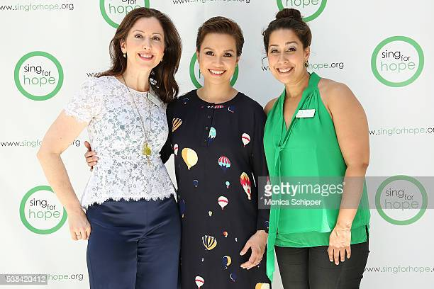 Sing For Hope cofounders Camille Zamora and Monica Yunus and Lea Salonga attend The 2016 Sing For Hope Pianos launch event on June 6 2016 in New York...