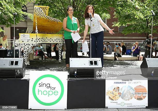 Sing For Hope cofounders Monica Yunus and Camille Zamora speak on stage at the The 2016 Sing For Hope Pianos launch event on June 6 2016 in New York...
