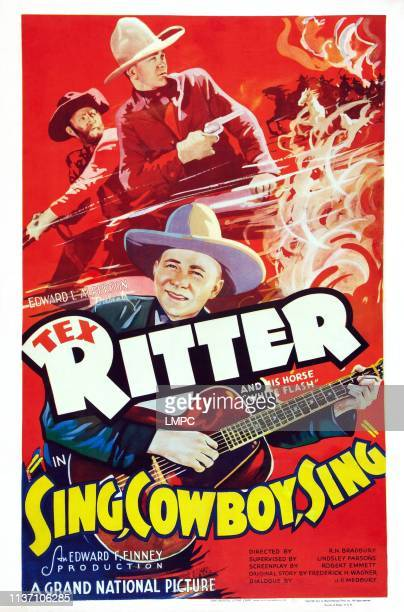 Sing poster COWBOY US poster art Al St John Tex Ritter 1937