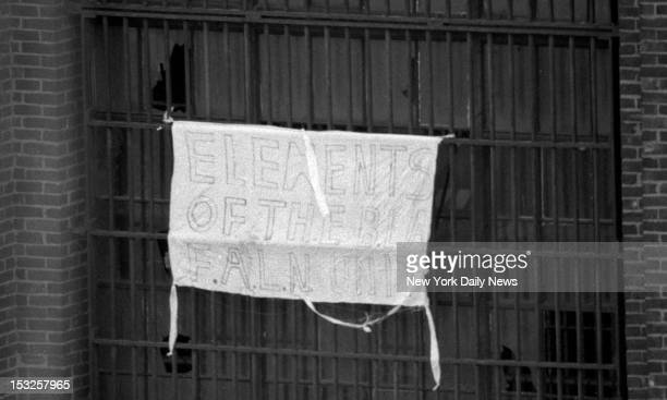 Sing Sing inmates display banner saying they don't want another Attica the revolt by which all other uprisings are measured