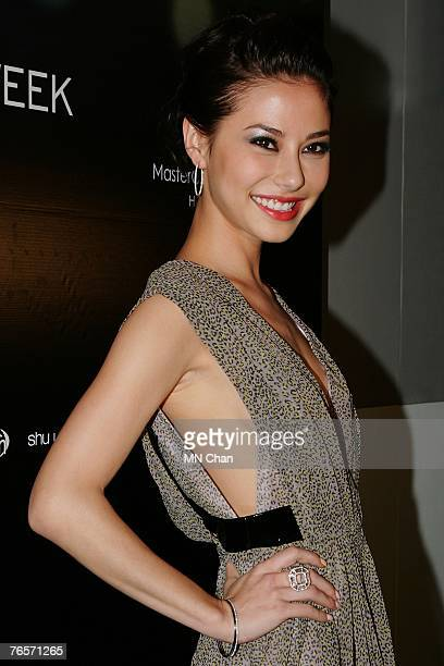 Singapore actress Denise Keller attends the fashion show of designs by Vera Wang on the eighth day of the inaugural Mastercard Luxury Week Hong Kong...