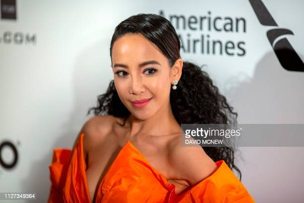 Singapore actress Fiona Xie arrives to attend the Elton John AIDS Foundation Academy Awards Viewing Party in West Hollywood California on February 24...