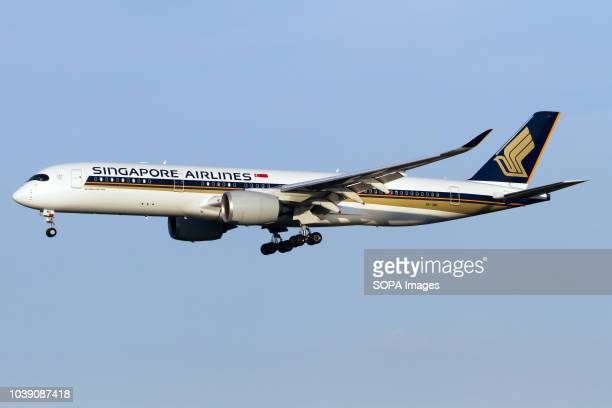 Singapore Airlines Airbus 350900 seen landing at Rome Fiumicino airport