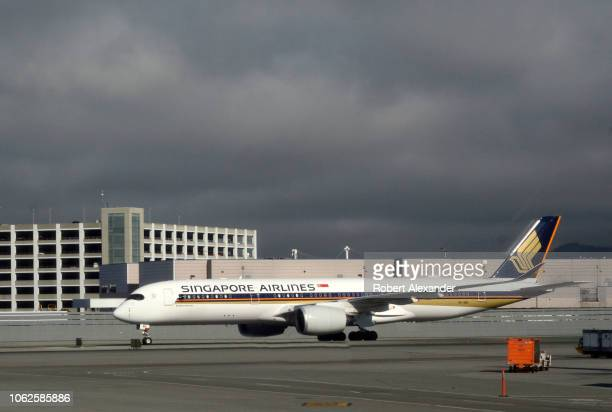 Singapore Airlines Airbus A350 airplane taxis at San Francisco International Airport in San Francisco California