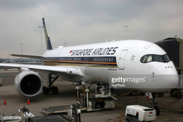 Singapore Airlines Airbus A350900 airplane at Amsterdam Airport Schiphol in Amsterdam Netherlands