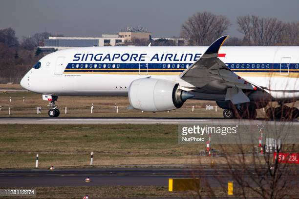 Singapore Airlines Airbus A350900 airplane with registration 9VSMF taxiing for take off in Düsseldorf International Airport DUS EDDL in Germany...