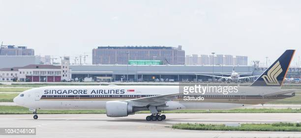 Singapore Airlines Boeing 777312 in runaway at Shanghai Pudong International Airport on September 08 2018 in Shanghai China