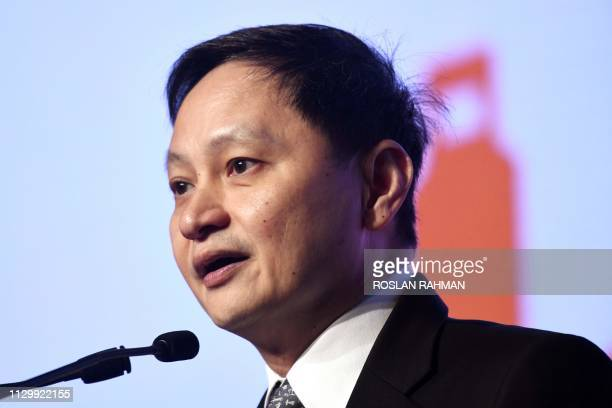 Singapore Airlines CEO, Goh Choon Phong delivers his address at the International Air Transportation Association world cargo symposium in Singapore...