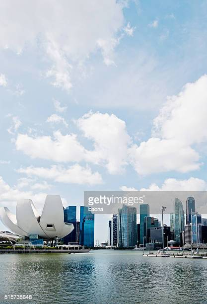 Singapore ArtScience Museum and CBD Skyline