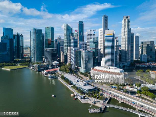 singapore business district and city skyline - studio city stock pictures, royalty-free photos & images