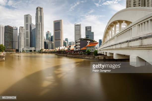 Singapore central business district skyline at sunshine day