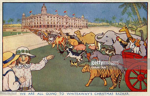 Singapore Circus Illustration early 20th century Caption reads 'we are all going to Whiteaway's Christmas Bazaar' Whiteaway's Christmas Bazaar was a...