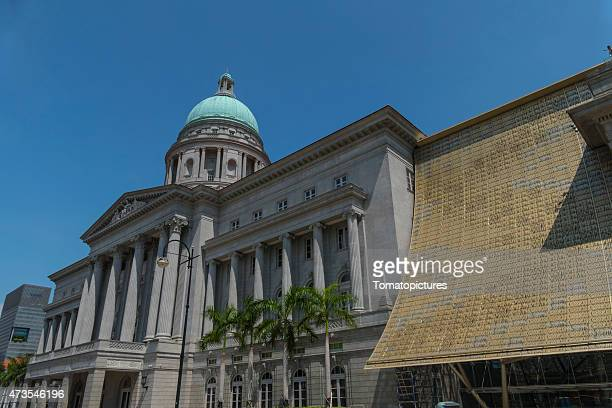 singapore city hall national art gallery - national gallery stock photos and pictures