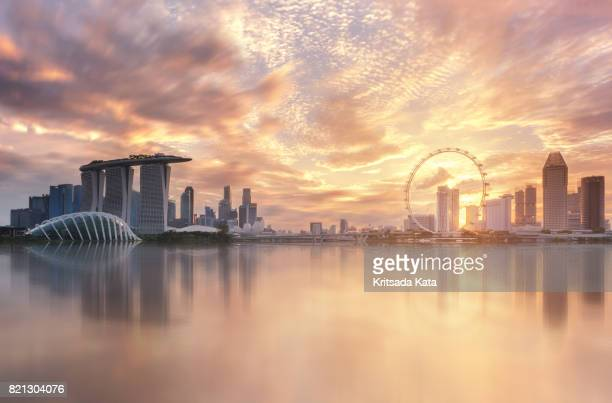 Singapore city Marina bay landmark view sunset beautiful sky cloud