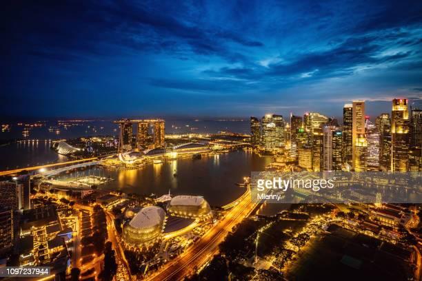 Singapore City Skyline at Night Marina Bay