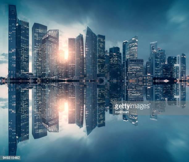 singapore city skyline at night. - singapore cbd stock pictures, royalty-free photos & images