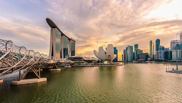 Singapore City Skyline At Sunset Wall Art