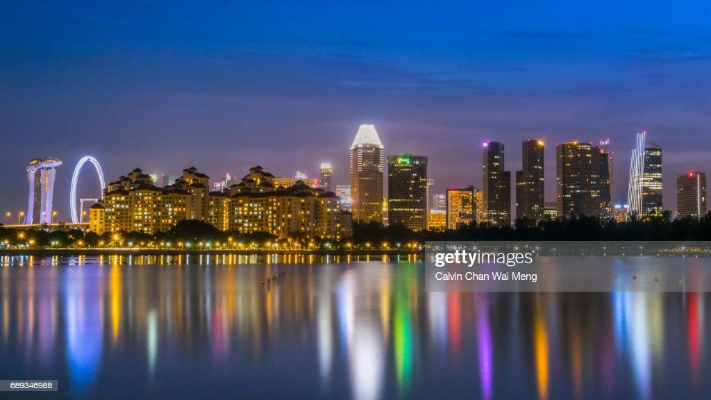 Singapore city skyline by Kallang Basin Reservoir : Stock Photo