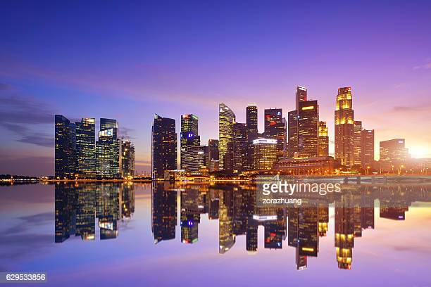 singapore city skyline - singapore stock photos and pictures