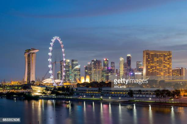 singapore city view - singapore flyer stock photos and pictures