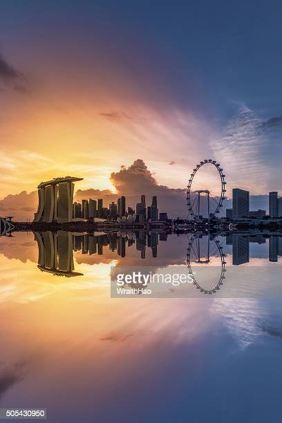 singapore cityscape - singapore flyer stock photos and pictures
