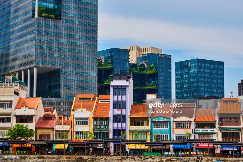 Singapore, Colonial District and Boat Quay : Stock Photo