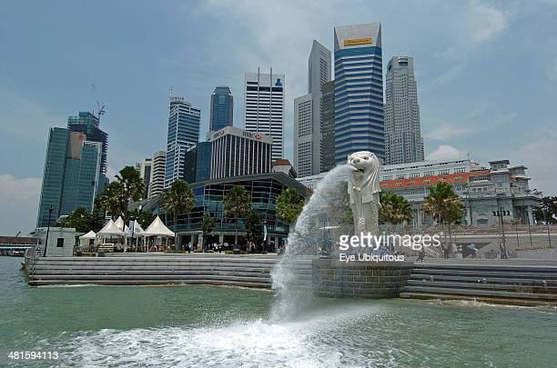 Singapore Financial District Merlion And The City Skyline Viewed From The Water