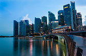 Singapore financial district skyline at Marina bay on twilight time