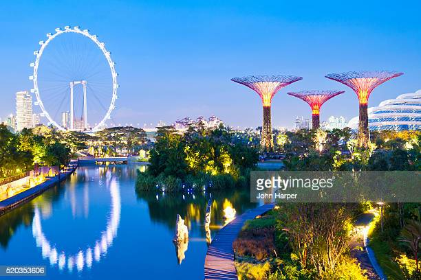 singapore flyer, gardens by the bay, singapore - singapore city stock pictures, royalty-free photos & images