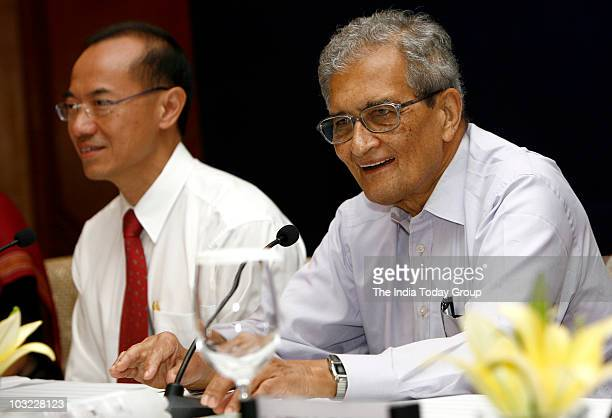 Singapore foreign minister George Yeo and economist and Nobel laureate Amartya Sen attend the Nalanda Mentor Group meeting in New Delhi on Tuesday...