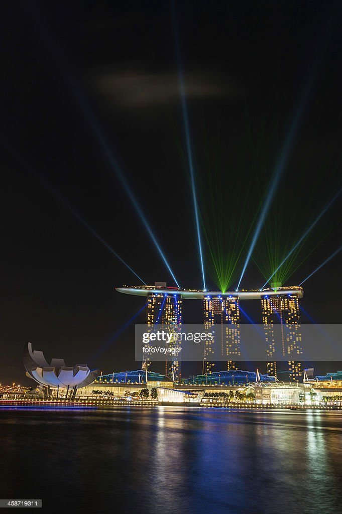 singapore laser light show marina bay sands illuminated stock photo