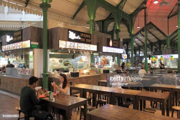 Singapore, Lau Pa Sat, food court, restaurants, people,