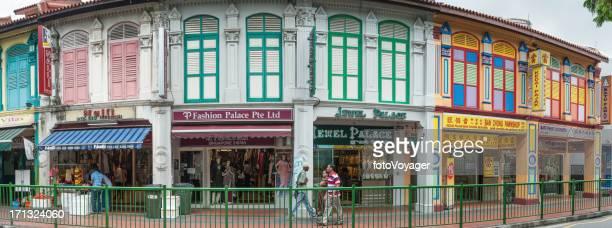 Singapore Little India Shopper farbenfroher Läden panorama