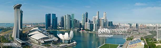 Singapore Marina Bay Skyline panorama Luftaufnahme