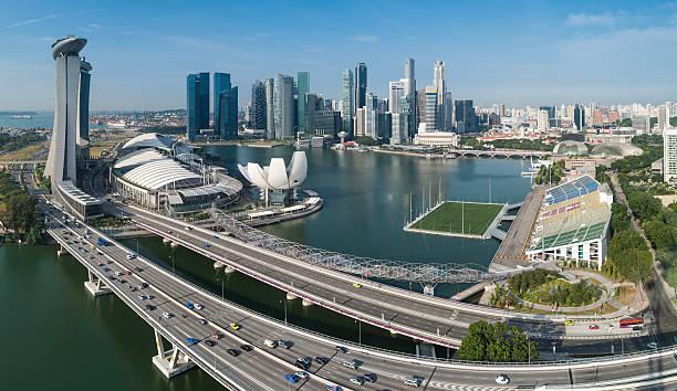 Singapore Marina Bay CBD Landmarks Aerial Panorama Wall Art
