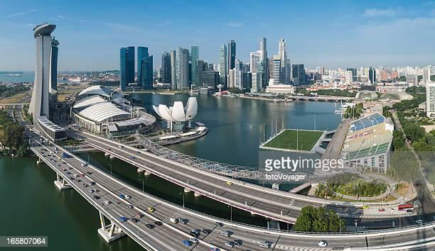 Singapore Marina Bay CBD Sehenswürdigkeiten Luftbild panorama