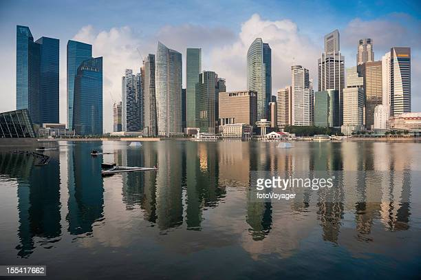 Singapore Marina Bay CBD skyscrapers reflected