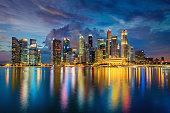 Singapore Marina Bay Cityscape Panorama at Dusk