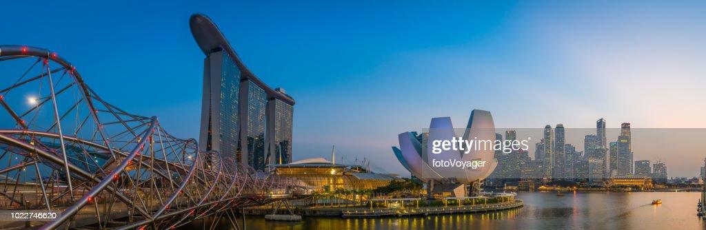 Singapore Marina Bay Sands Helix Bridge ArtScience Museum skyscrapers panorama : Stock Photo