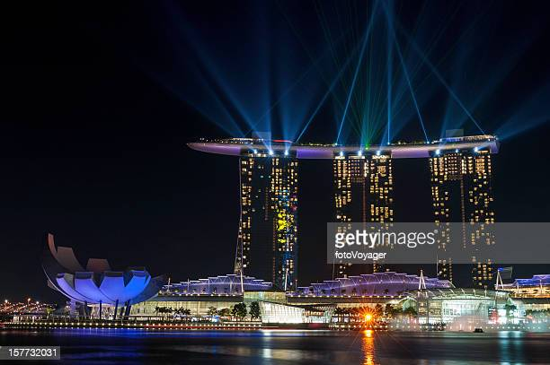 Singapore Marina Bay Sands Hotel colourful laser lightshow