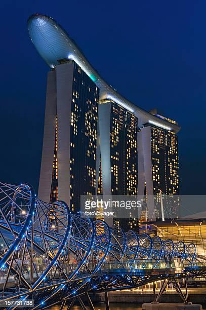 Singapore Marina Bay Sands hotel Helix Bridge illuminated